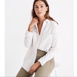 Madewell ivory flannel Sunday shirt in stripe sz M